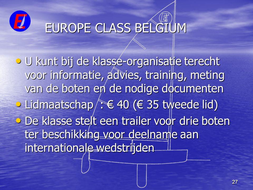 EUROPE CLASS BELGIUM U kunt bij de klasse-organisatie terecht voor informatie, advies, training, meting van de boten en de nodige documenten.