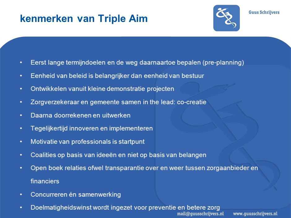 Triple Aim: enkele tips