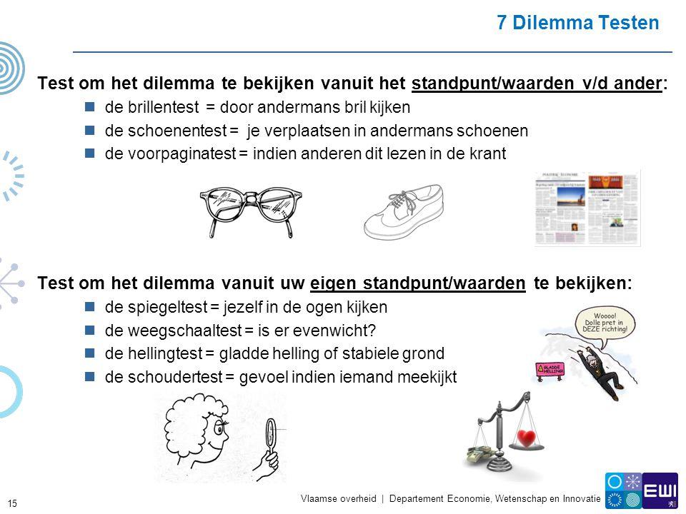 7 Dilemma Testen Test om het dilemma te bekijken vanuit het standpunt/waarden v/d ander: de brillentest = door andermans bril kijken.
