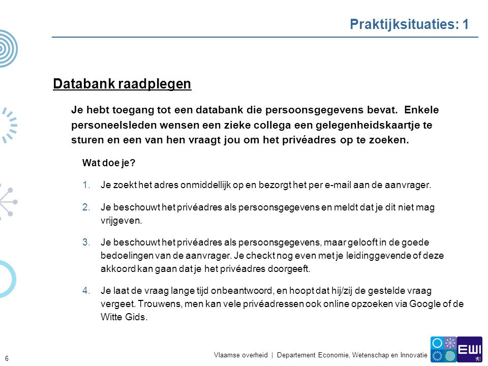 Praktijksituaties: 1 Databank raadplegen