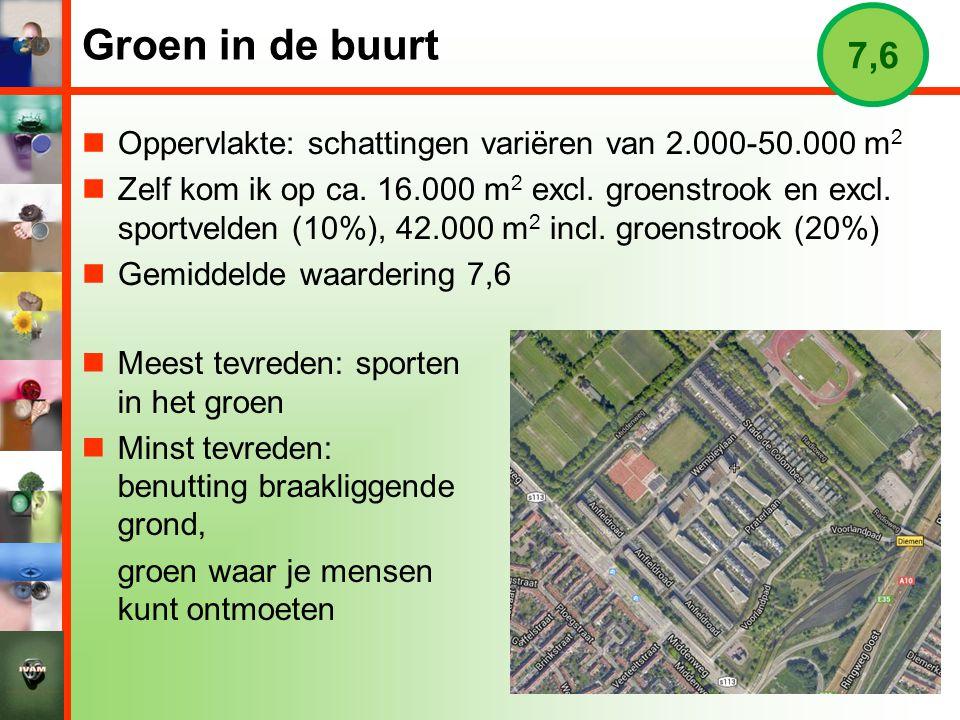 Groen in de buurt 7,6. Oppervlakte: schattingen variëren van 2.000-50.000 m2.