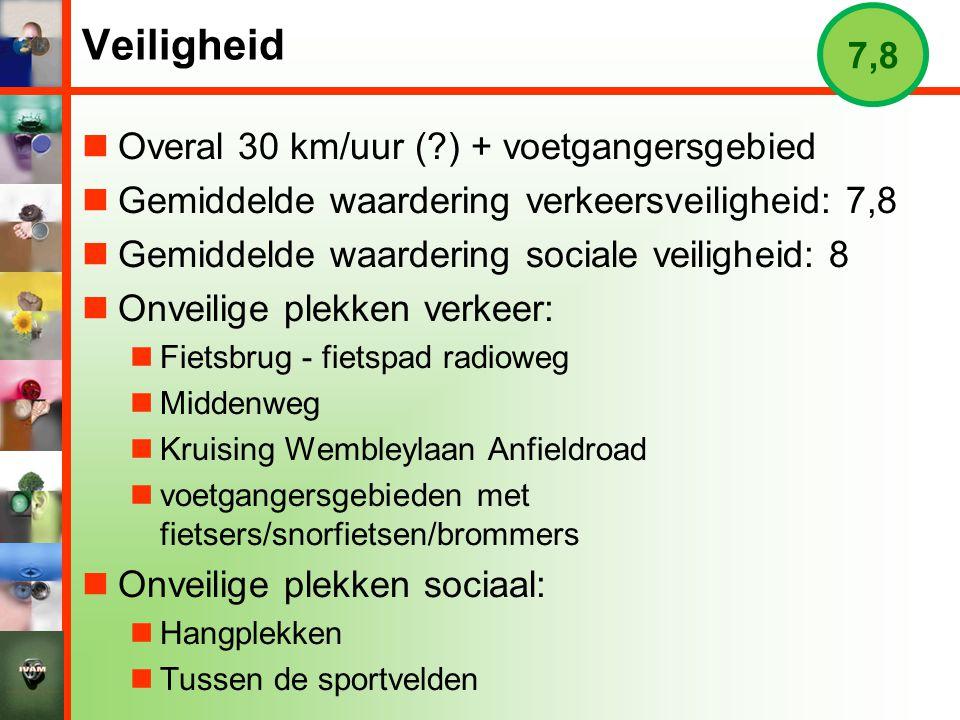 Veiligheid 7,8 Overal 30 km/uur ( ) + voetgangersgebied