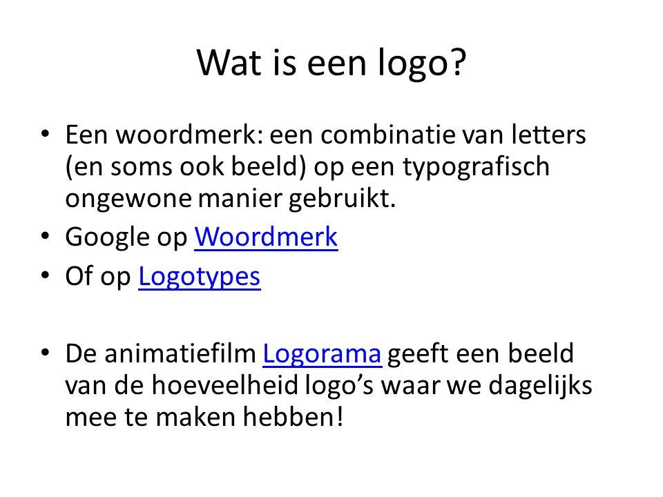 Wat is een logo Een woordmerk: een combinatie van letters (en soms ook beeld) op een typografisch ongewone manier gebruikt.