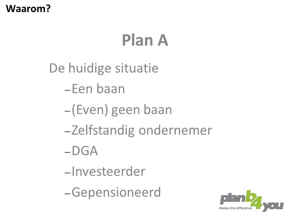 Plan A De huidige situatie Een baan (Even) geen baan