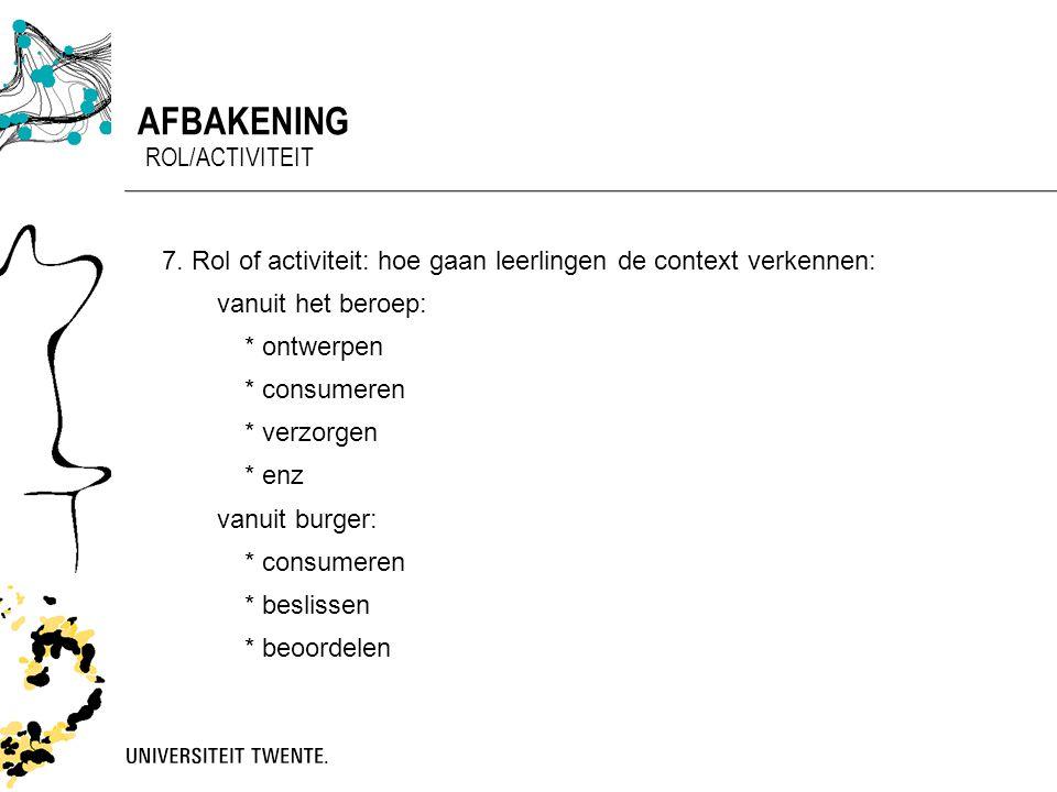 Afbakening rol/activiteit