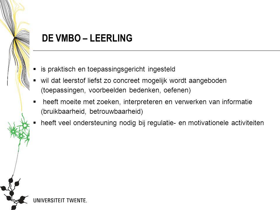 De VMBO – leerling is praktisch en toepassingsgericht ingesteld
