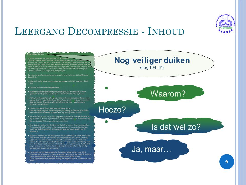 Leergang Decompressie - Inhoud
