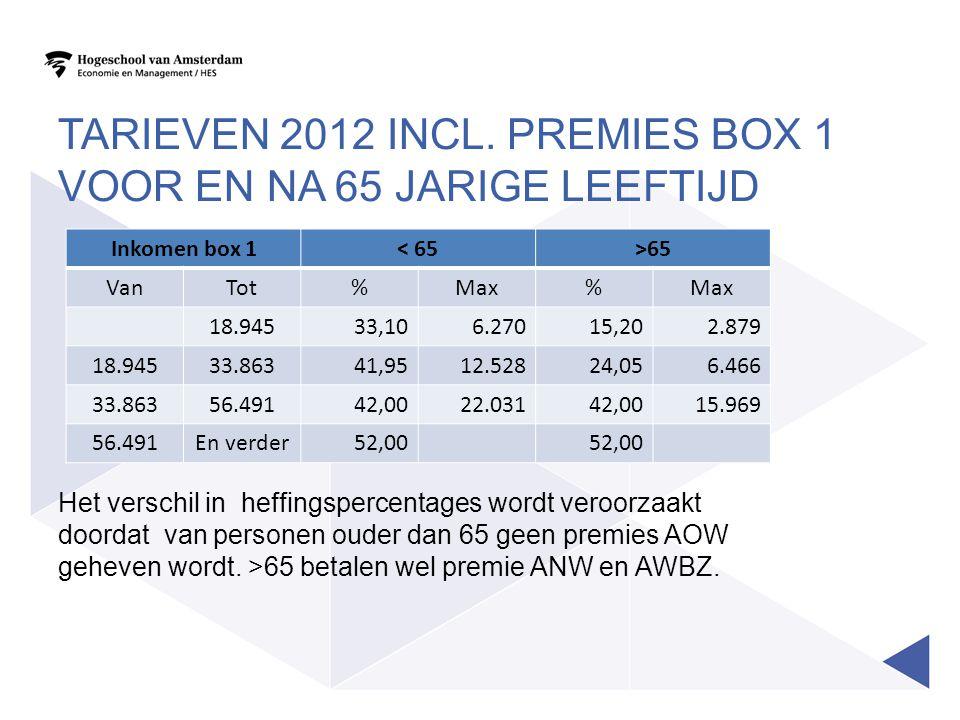 Tarieven 2012 incl. premies box 1 voor en na 65 jarige leeftijd