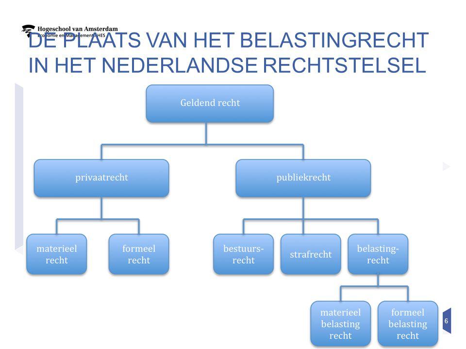 De plaats van het belastingrecht in het nederlandse rechtstelsel