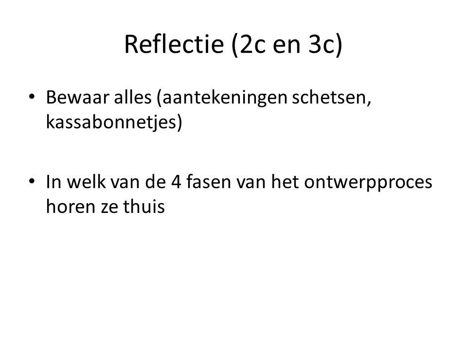 Reflectie (2c en 3c) Bewaar alles (aantekeningen schetsen, kassabonnetjes) In welk van de 4 fasen van het ontwerpproces horen ze thuis.