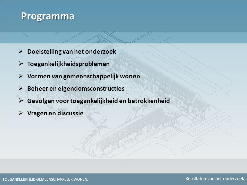 Programma Doelstelling van het onderzoek Toegankelijkheidsproblemen