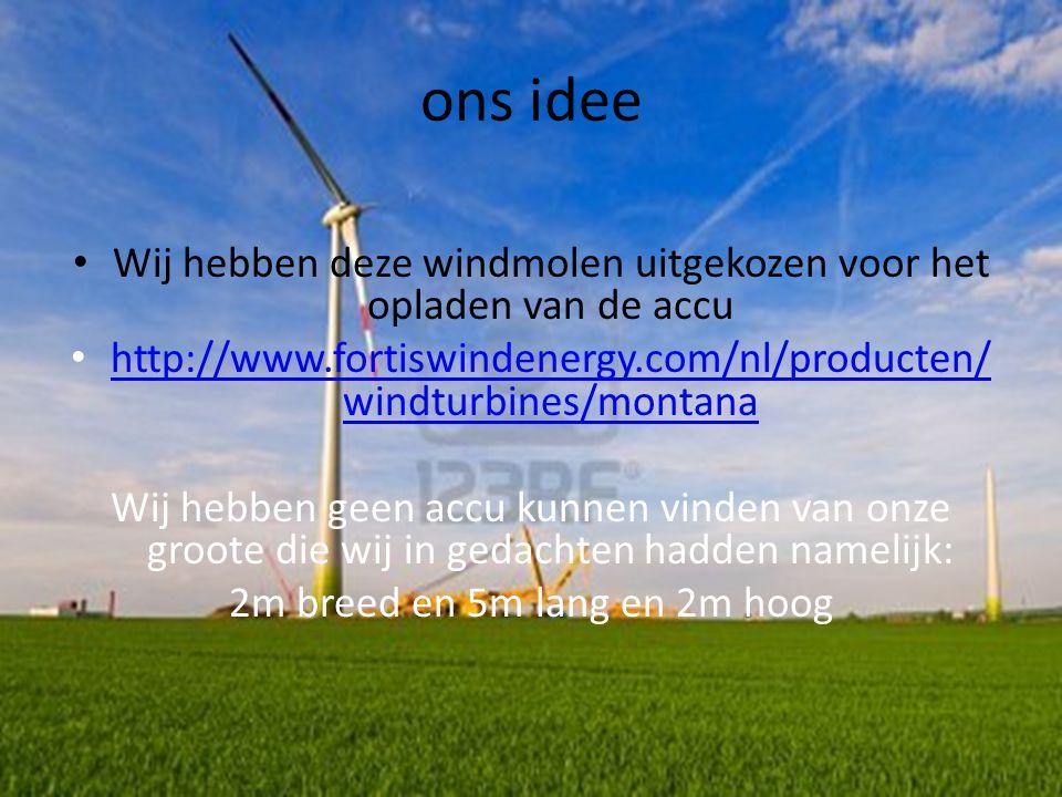 installeren ons idee. Wij hebben deze windmolen uitgekozen voor het opladen van de accu.