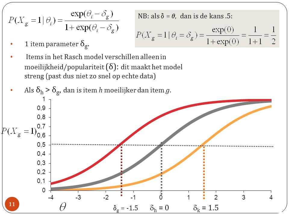 dh = 0 dk = 1.5 NB: als d = q, dan is de kans .5: 1 item parameter δg.