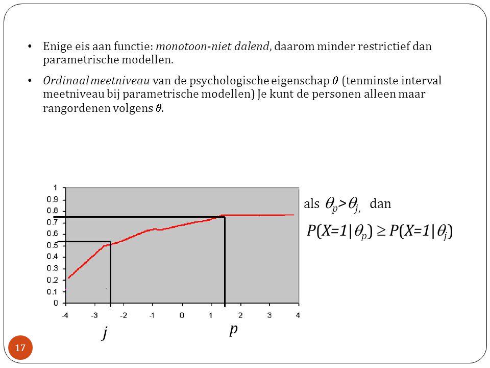 P(X=1|qp)  P(X=1|qj) p j als qp>qj, dan