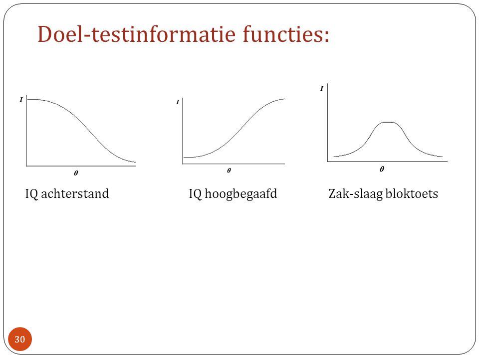 Doel-testinformatie functies: