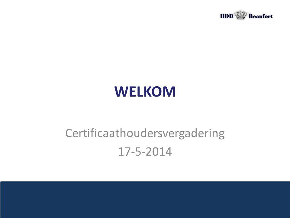 Certificaathoudersvergadering 17-5-2014