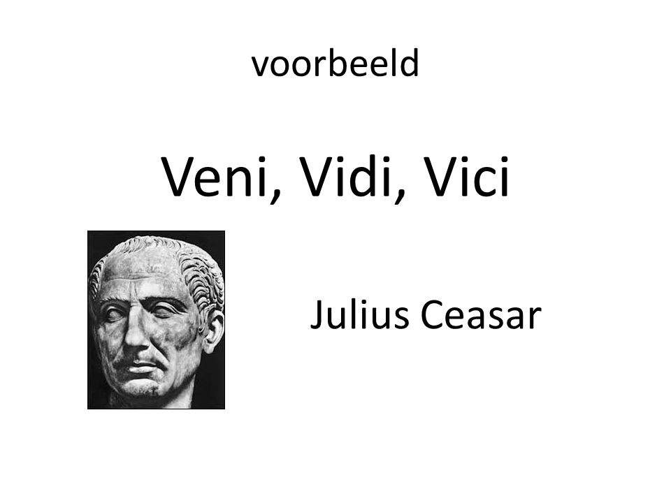 voorbeeld Veni, Vidi, Vici Julius Ceasar