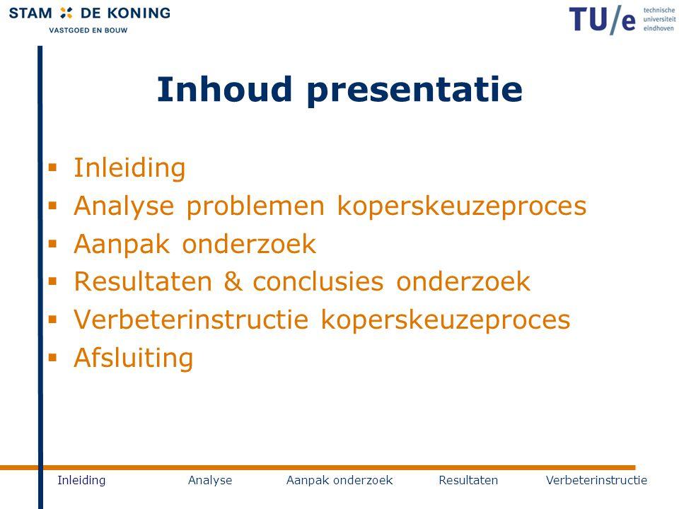Inhoud presentatie Inleiding Analyse problemen koperskeuzeproces