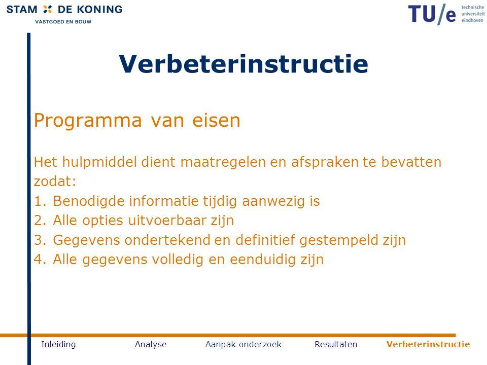 Verbeterinstructie Programma van eisen