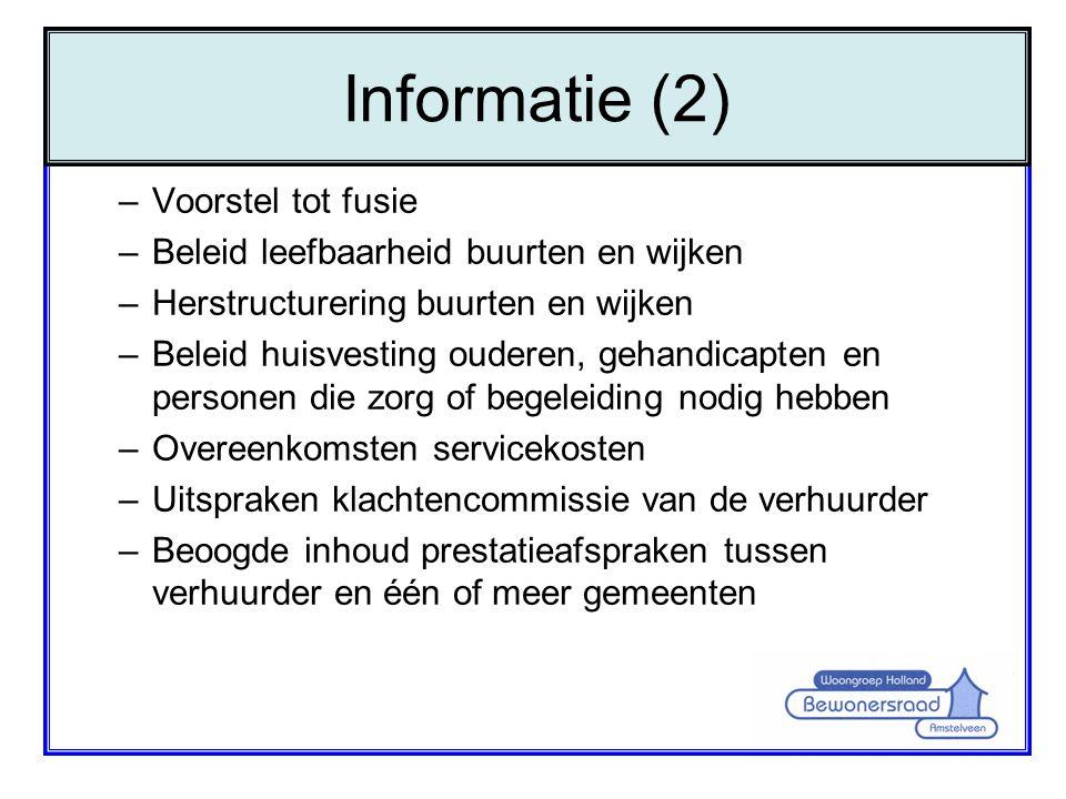Informatie (2) Voorstel tot fusie