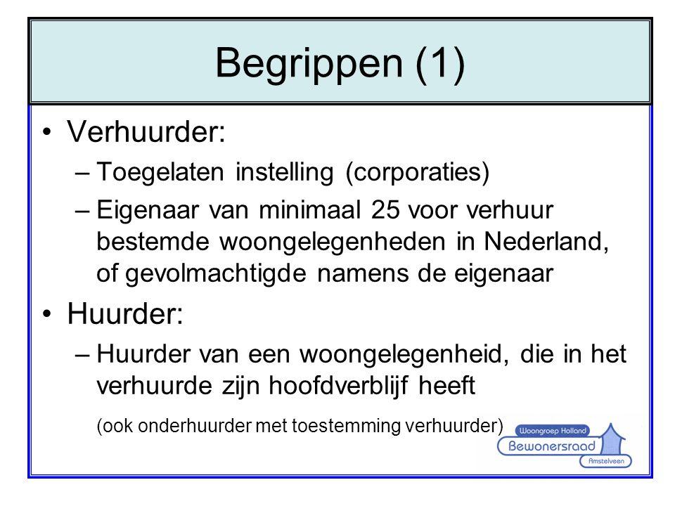 Begrippen (1) Verhuurder: Huurder: Toegelaten instelling (corporaties)
