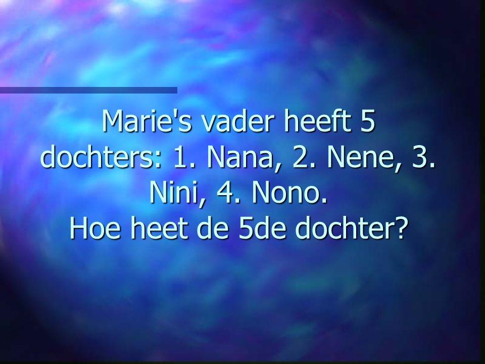 Marie s vader heeft 5 dochters: 1. Nana, 2. Nene, 3. Nini, 4. Nono