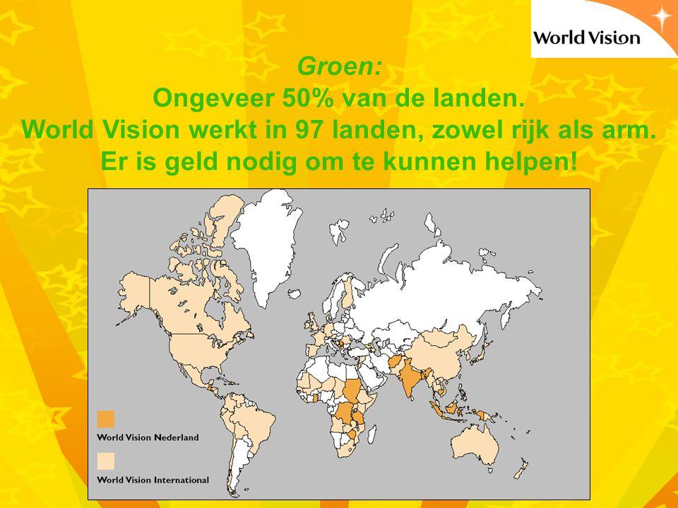 Groen: Ongeveer 50% van de landen.