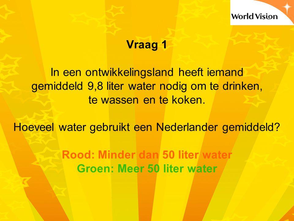 Rood: Minder dan 50 liter water Groen: Meer 50 liter water