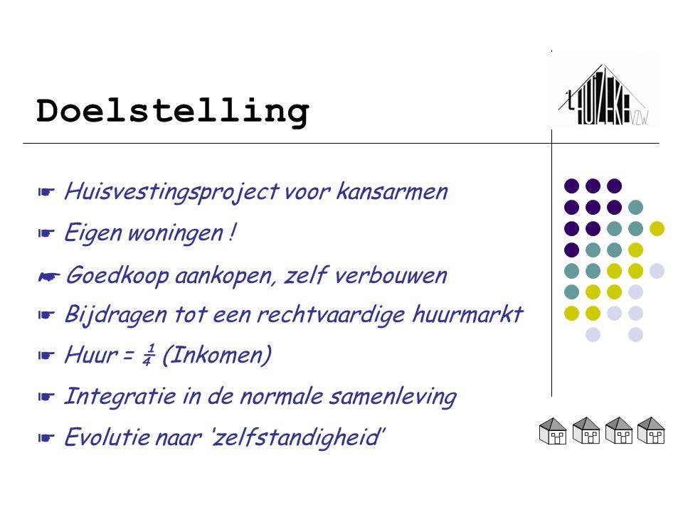 Doelstelling ☛ Huisvestingsproject voor kansarmen ☛ Eigen woningen !