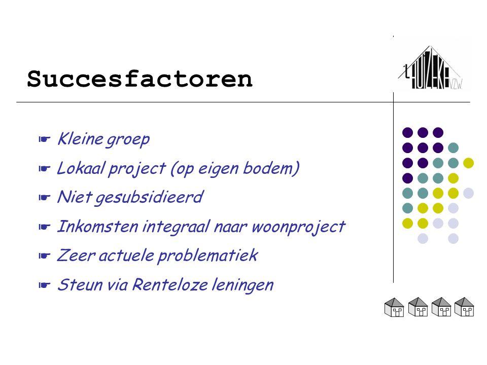 Succesfactoren ☛ Kleine groep ☛ Lokaal project (op eigen bodem)