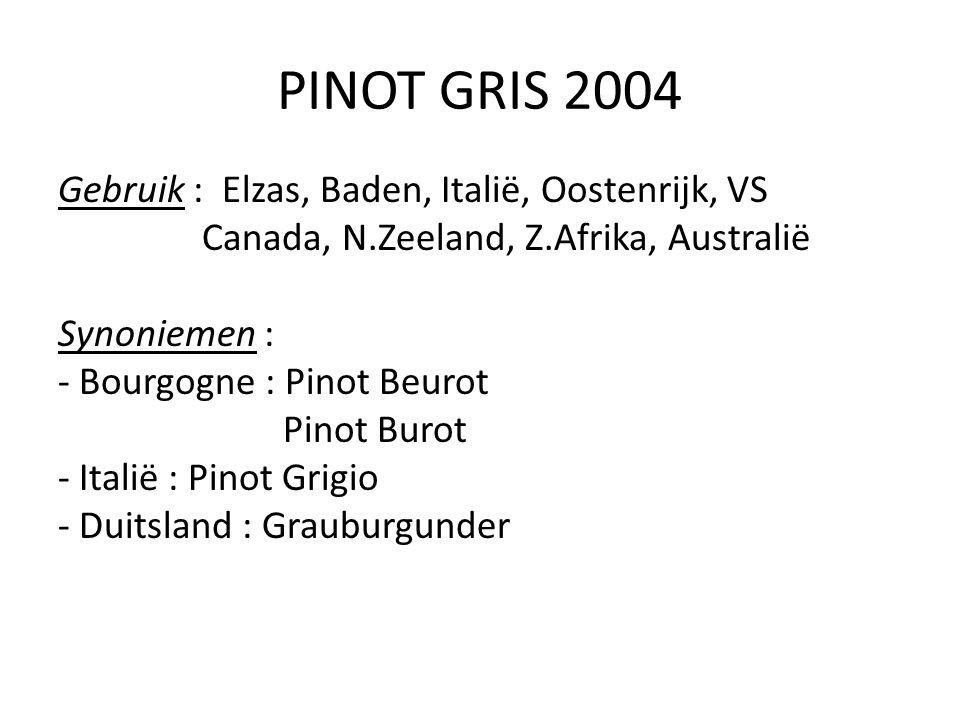 PINOT GRIS 2004 Gebruik : Elzas, Baden, Italië, Oostenrijk, VS