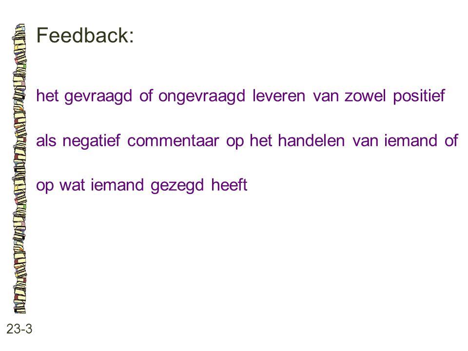 Feedback: het gevraagd of ongevraagd leveren van zowel positief