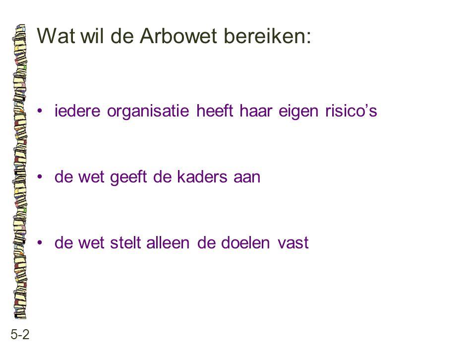 Wat wil de Arbowet bereiken:
