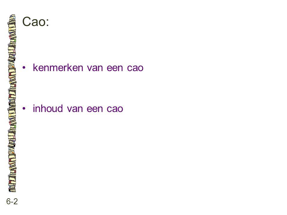 Cao: • kenmerken van een cao • inhoud van een cao 6-2