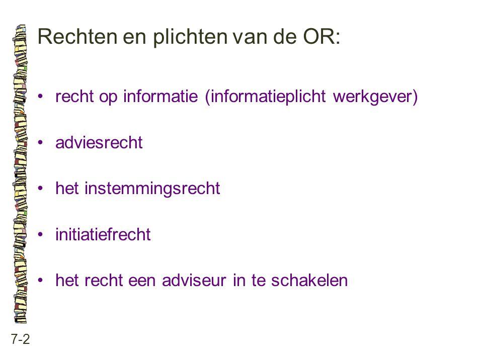 Rechten en plichten van de OR: