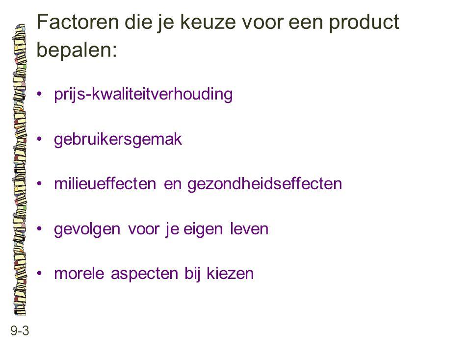 Factoren die je keuze voor een product bepalen: