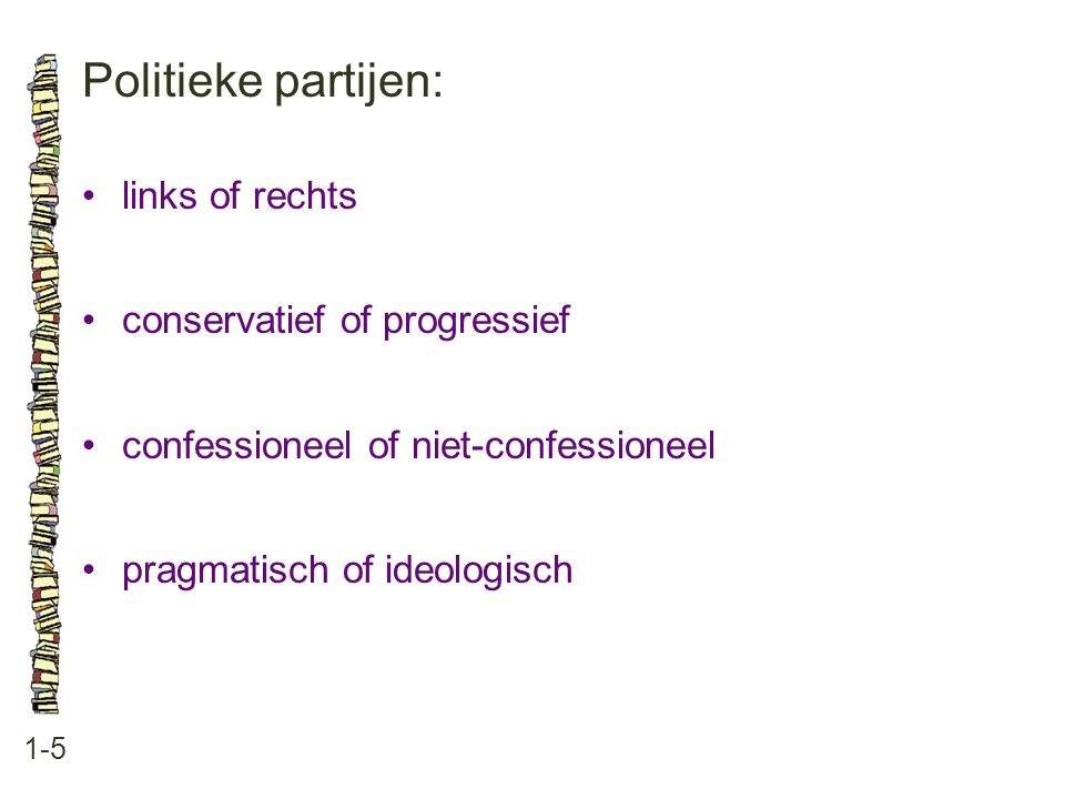 Politieke partijen: links of rechts conservatief of progressief