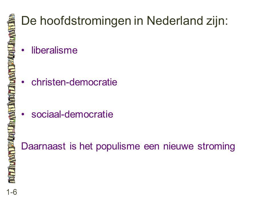 De hoofdstromingen in Nederland zijn: