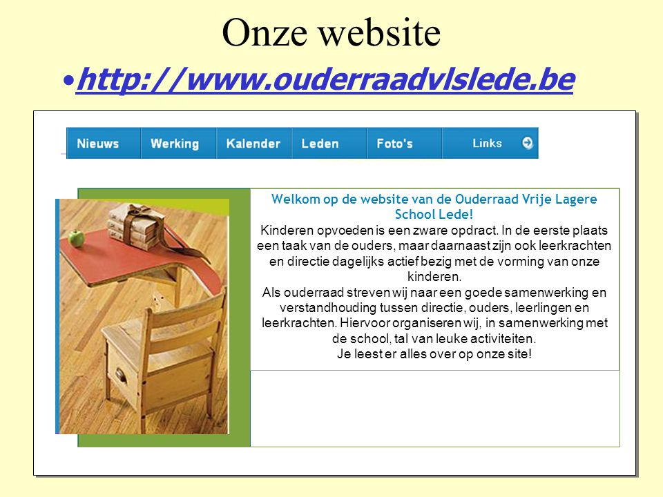 Onze website