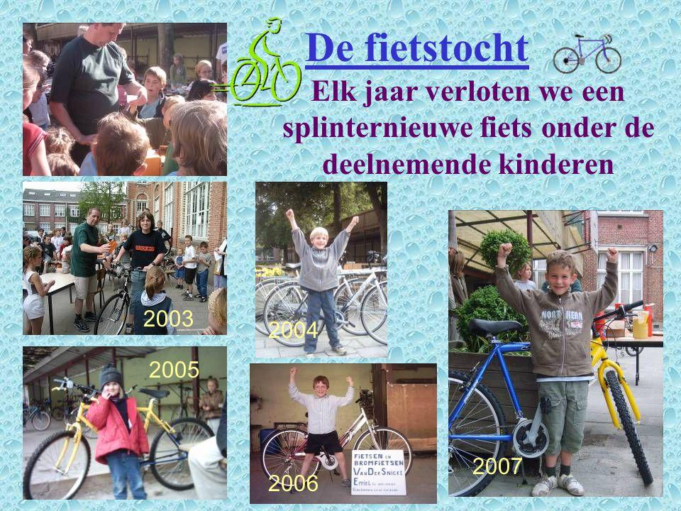 De fietstocht Elk jaar verloten we een splinternieuwe fiets onder de deelnemende kinderen. 2003. 2004.