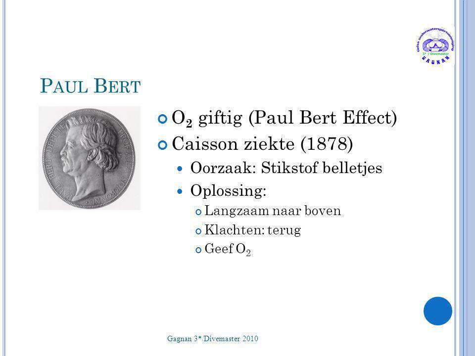Paul Bert O2 giftig (Paul Bert Effect) Caisson ziekte (1878)