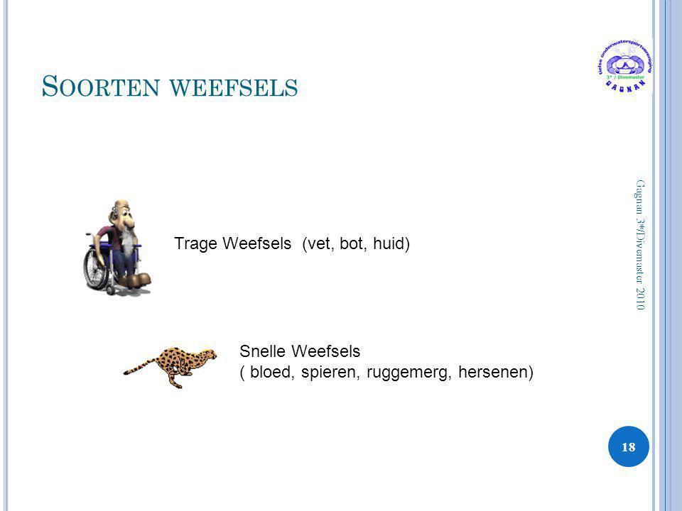 Soorten weefsels Trage Weefsels (vet, bot, huid) Snelle Weefsels