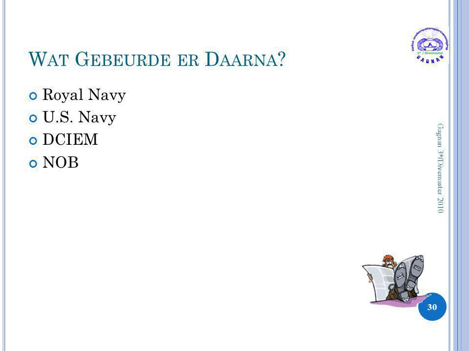 Wat Gebeurde er Daarna Royal Navy U.S. Navy DCIEM NOB