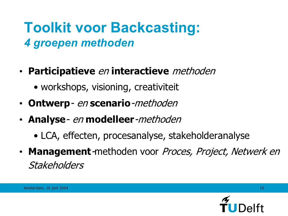 Toolkit voor Backcasting: 4 groepen methoden