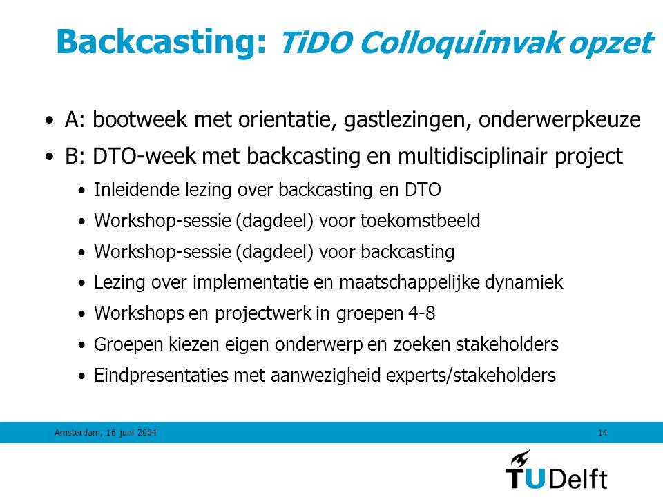Backcasting: TiDO Colloquimvak opzet