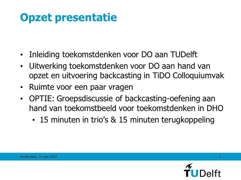Opzet presentatie Inleiding toekomstdenken voor DO aan TUDelft