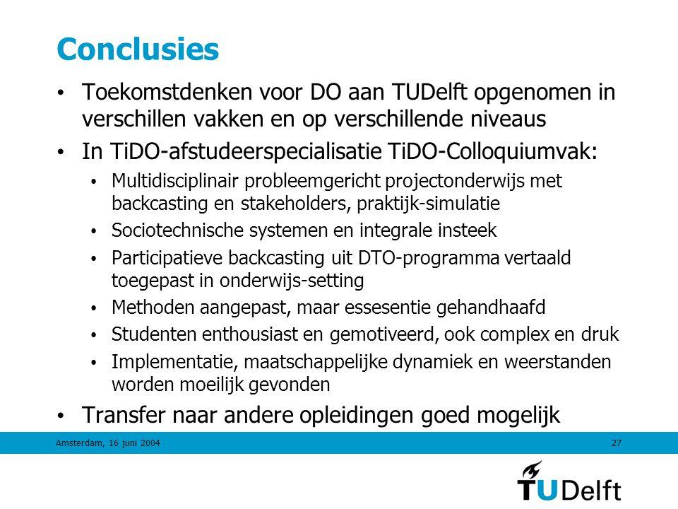 Conclusies Toekomstdenken voor DO aan TUDelft opgenomen in verschillen vakken en op verschillende niveaus.