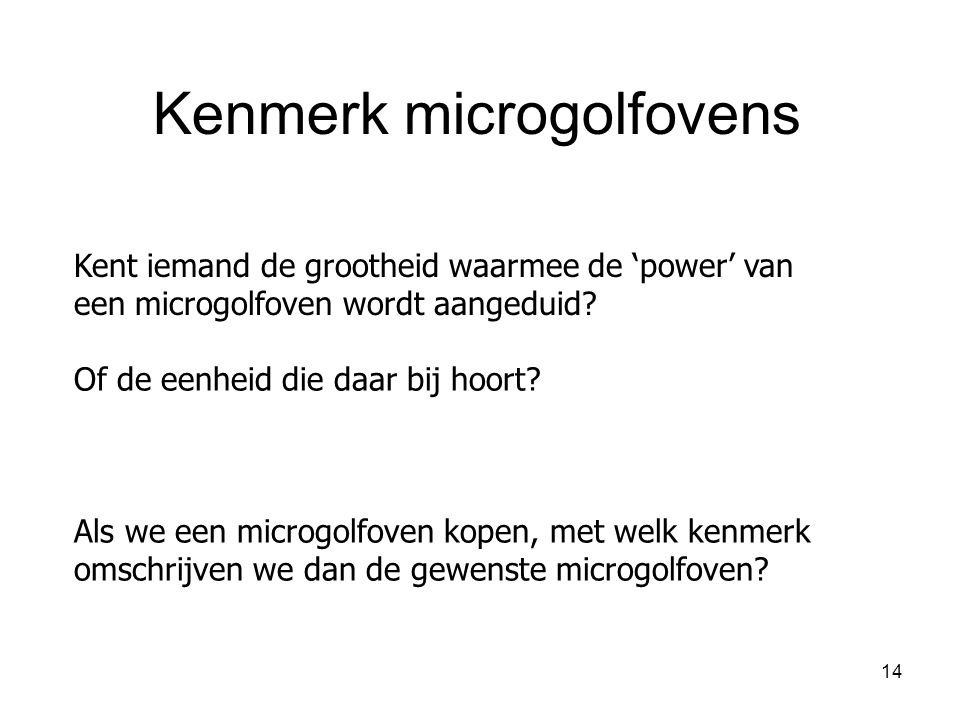 Kenmerk microgolfovens