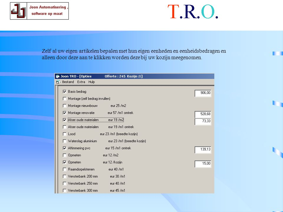 T.R.O. calculatie randartikelen