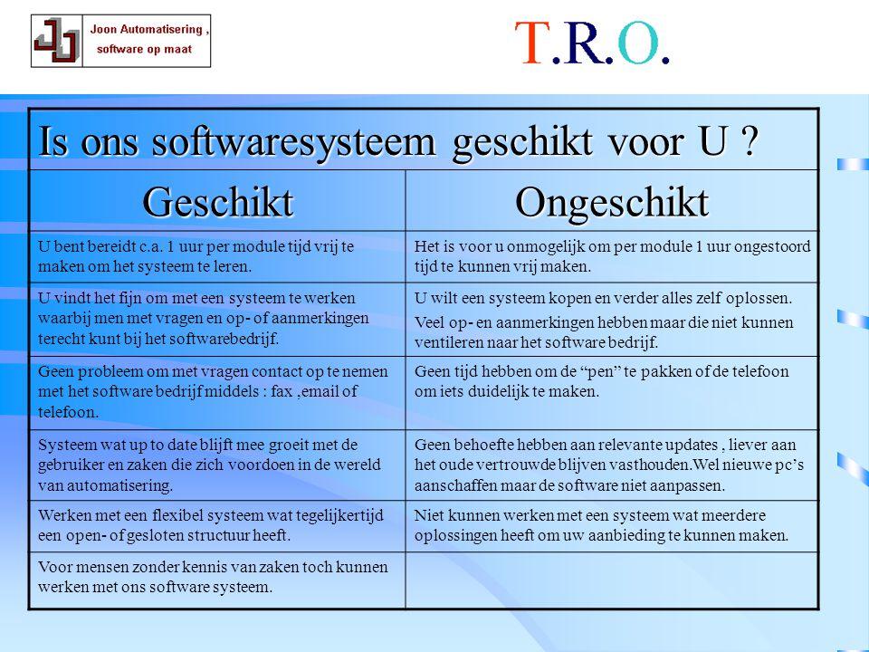 T.R.O. software Is ons softwaresysteem geschikt voor U Geschikt